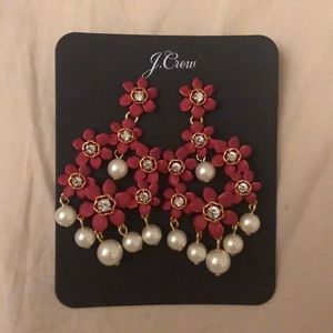 Red and pearl statement earrings